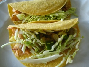 Healty Gluten free cabbage and fish tacos