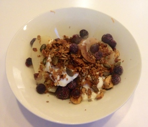 Poached pears with sheep's yoghurt grain free crunchy granola & blueberries